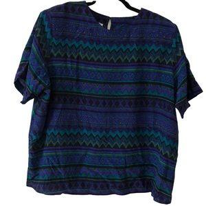 Vintage Silk Geometric Striped Blouse Plus Size 1X